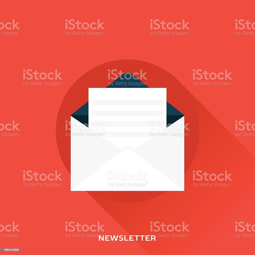 A white newsletter on a red background vector art illustration