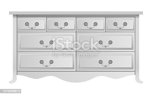 White nightstand mockup. Realistic illustration of white nightstand vector mockup for web design isolated on white background