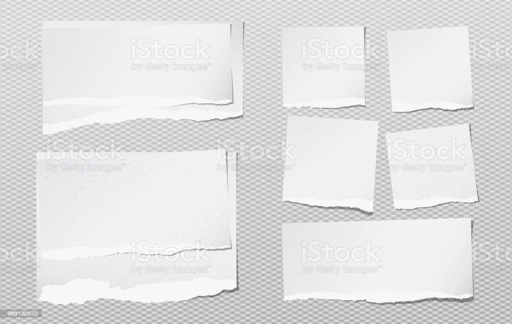 Weiße Hinweis Notebook Körnig Papierstücke Mit Zerrissenen Rand ...