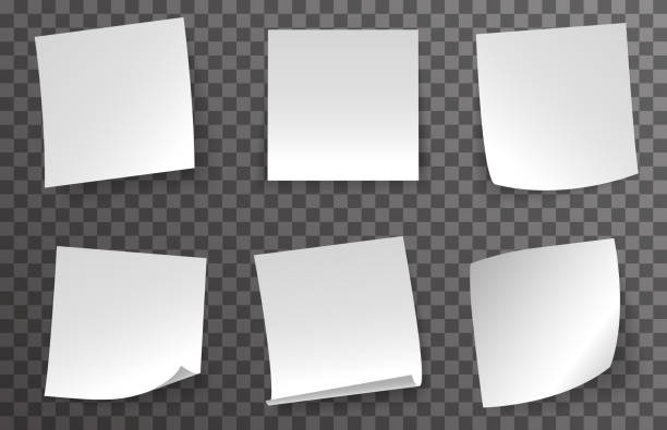 illustrazioni stock, clip art, cartoni animati e icone di tendenza di white note paper curled corner red push button message transparent background vector illustration - rotolo