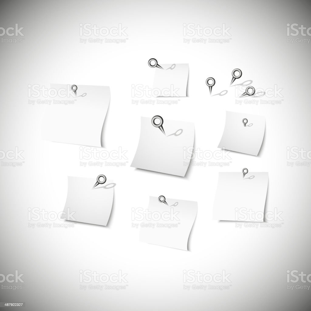 white note papers with stationery nails vector royalty-free stock vector art
