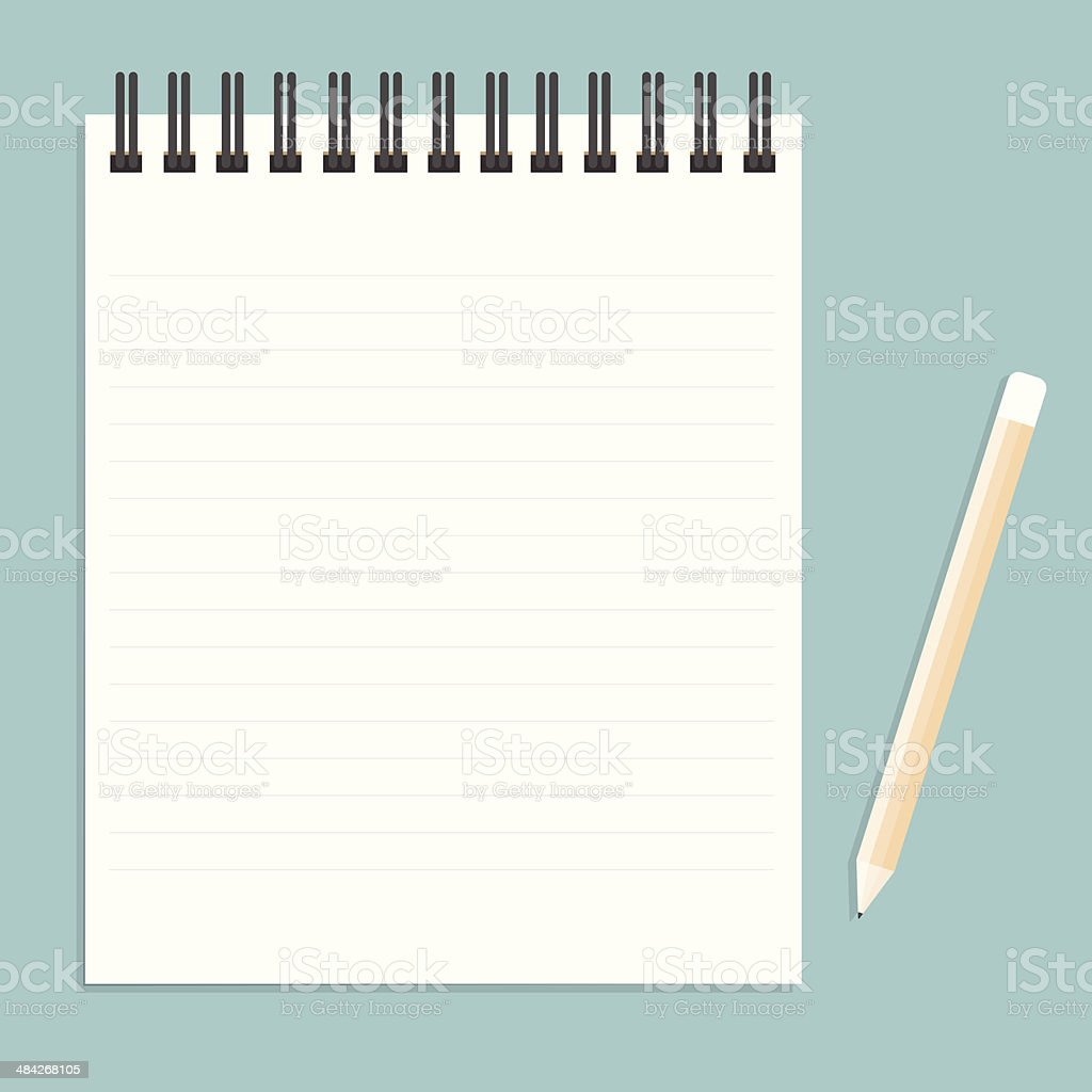 White notebook with lines can shred and pencil. vector illustrat vector art illustration