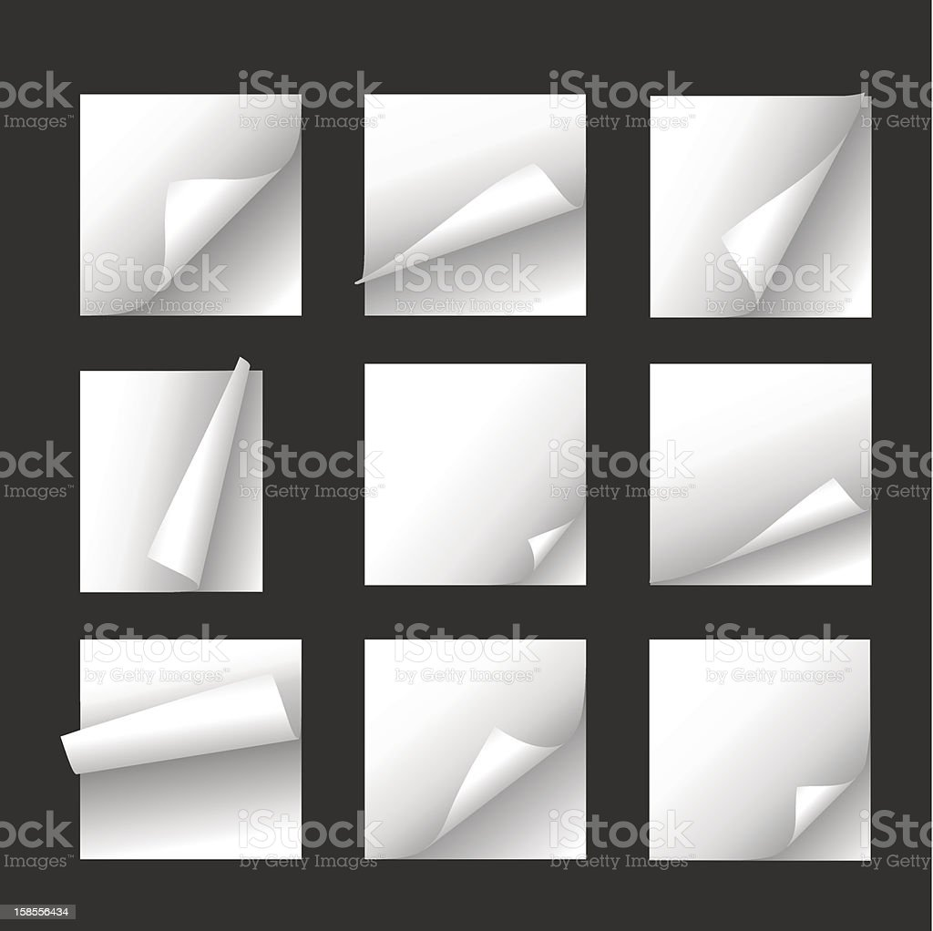 White notepad pages arranged in square vector art illustration