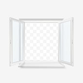 White Office Plastic Window. Window Front View. Vector Illustration Isolated on Transparent Background