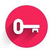 White Old key icon isolated with long shadow. Red circle button. Vector Illustration