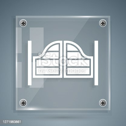 White Old western swinging saloon door icon isolated on grey background. Square glass panels. Vector.