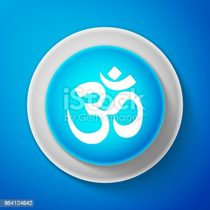 istock White Om or Aum Indian sacred sound icon isolated on blue background. Symbol of Buddhism and Hinduism religions. Original mantra. The symbol of the divine triad of Brahma, Vishnu and Shiva. Vector 954124642