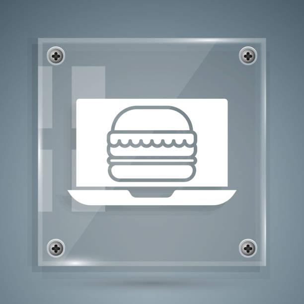 illustrazioni stock, clip art, cartoni animati e icone di tendenza di white online ordine e icona di consegna hamburger isolato su sfondo grigio. pannelli di vetro quadrato. illustrazione vettoriale - hand on glass covid