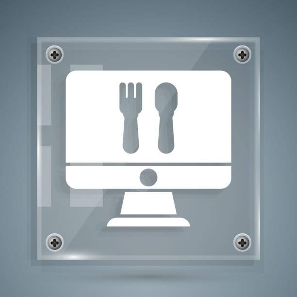 illustrazioni stock, clip art, cartoni animati e icone di tendenza di white online ordine e icona di consegna fast food isolata su sfondo grigio. pannelli di vetro quadrato. illustrazione vettoriale - hand on glass covid