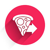 istock White Online ordering and fast pizza delivery icon isolated with long shadow. Red circle button. Vector Illustration 1270644379
