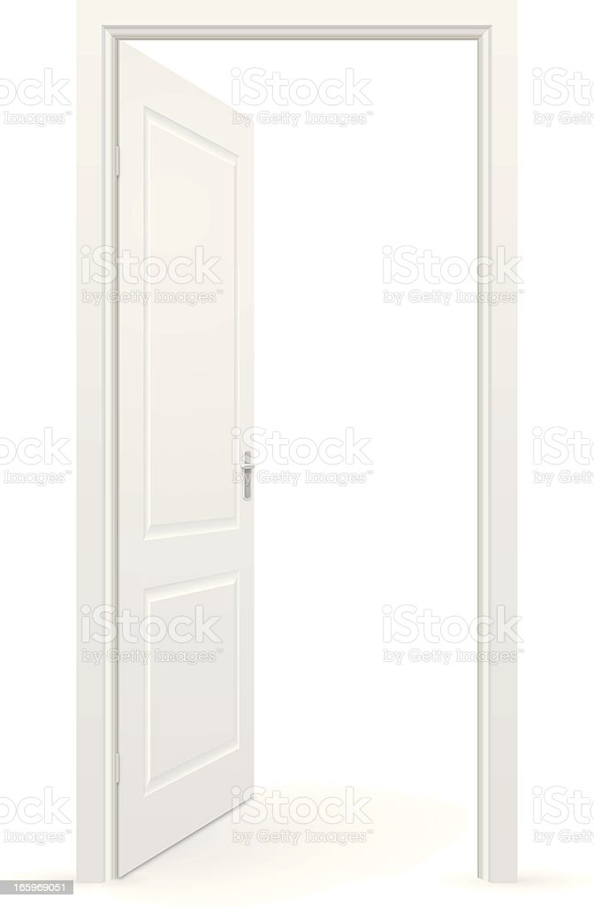 White open door against a white background royalty-free stock vector art