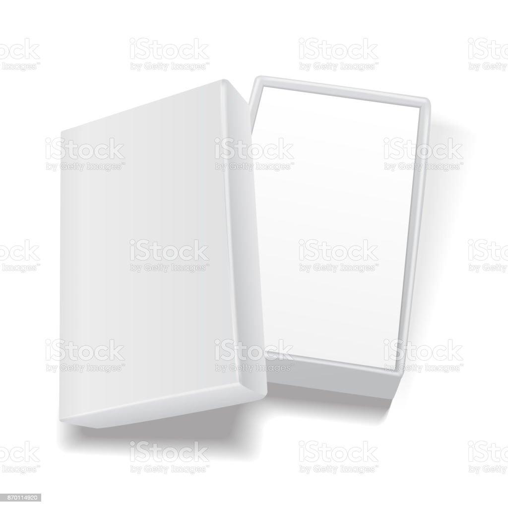 Blanco Plantilla De Caja De Cartón Rectangular Vacío Abierto Maqueta ...