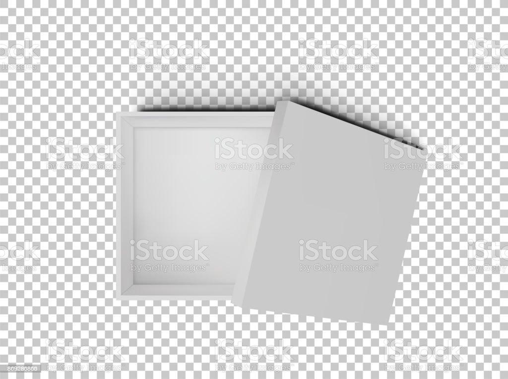Caixa de papelão de quadrados vazios aberto isolada na vista superior do plano de fundo transparente branca. Modelo de maquete para produtos de design, pacote, branding, publicidade. Ilustração em vetor. - ilustração de arte em vetor