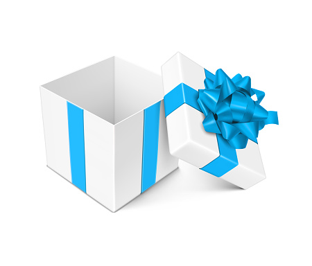 White Open Gift Box with Blue Bow and Ribbons