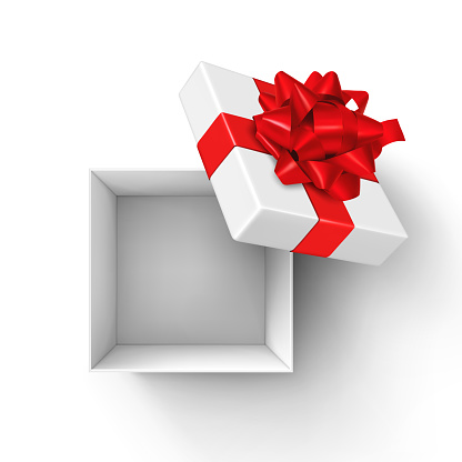 White Open Gift Box with Red Bow and Ribbons