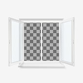 White Open Office Plastic Window. Window Front View. Vector Illustration Isolated on Transparent Background