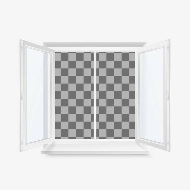 bildbanksillustrationer, clip art samt tecknat material och ikoner med vit open office plast fönster. fönster framifrån. vektor illustration isolerad på transparent bakgrund - solar panel