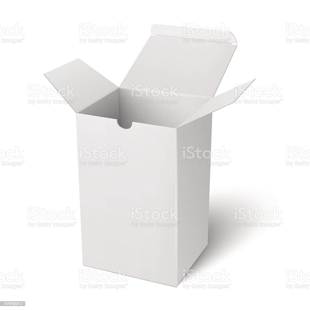 white open vertical paper box template イラストレーションの