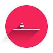 White Opium pipe icon isolated with long shadow. Red circle button. Vector Illustration