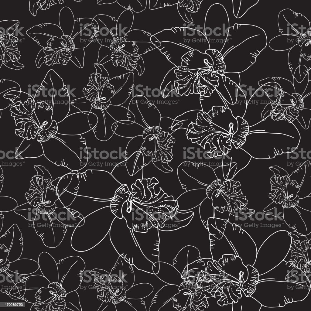 White orchid flowers on black background seamless pattern. vector royalty-free stock vector art