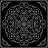 Ornament for scarf with white pattern on black background. You can use for carpet, shawl, pillow, cushion. Vector illustration.