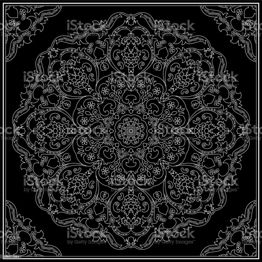 White ornament on black background vector art illustration