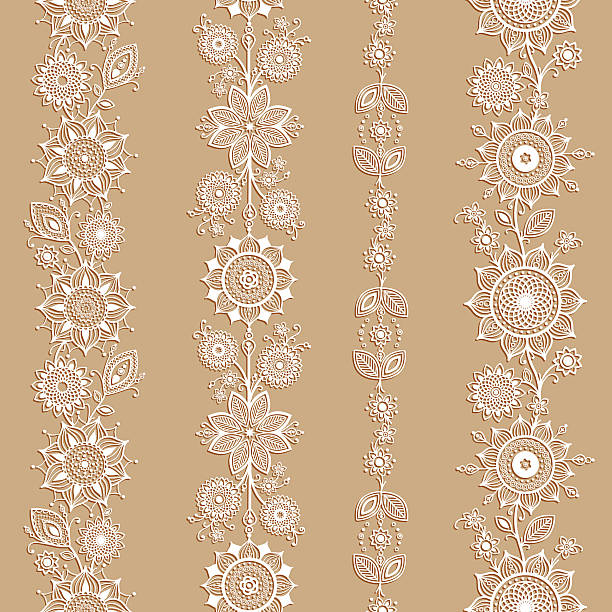 White ornamental seamless borders. Mehndi style. Four floral borders with transparent shadows and separated from background. lace textile stock illustrations