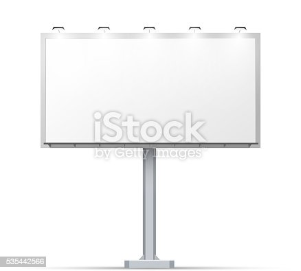 istock White outdoor billboard with place for advertising 535442566