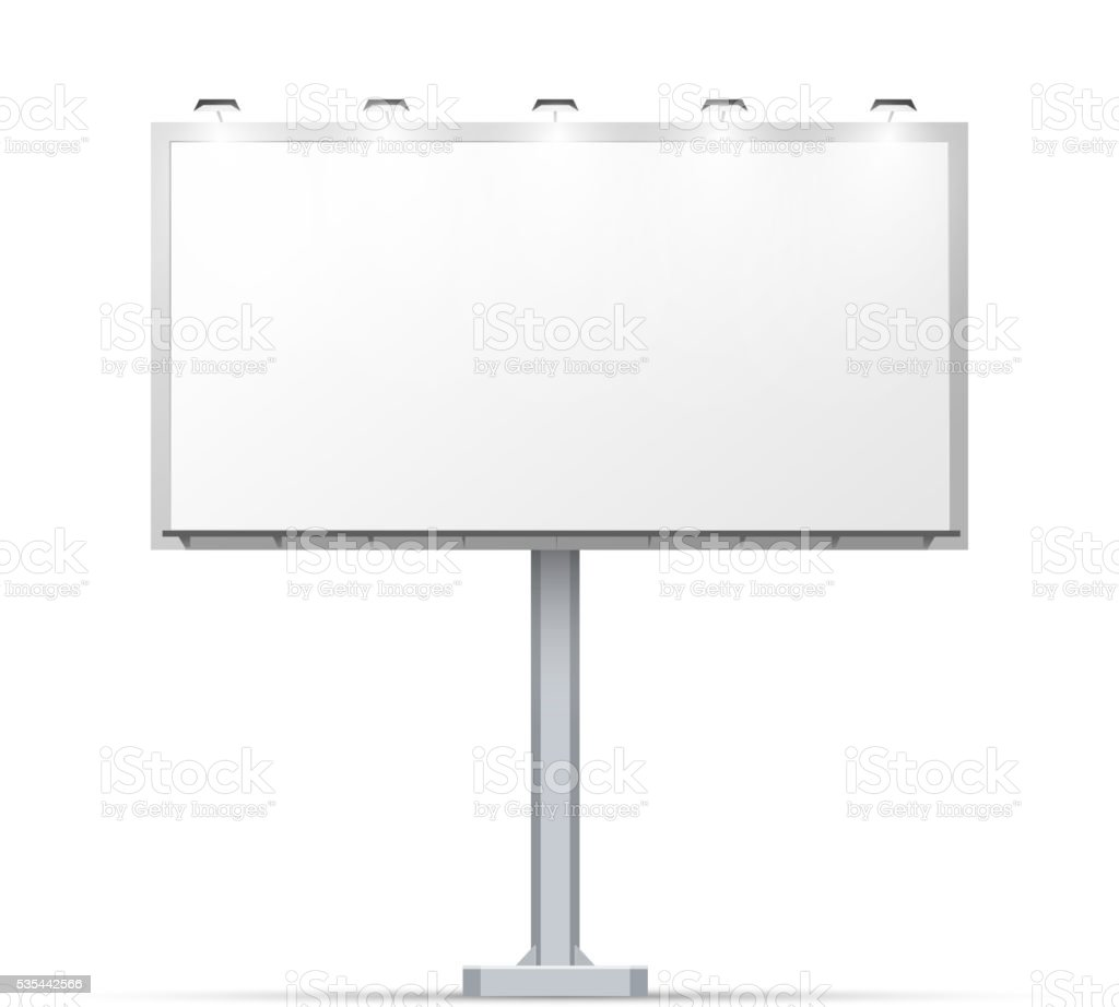 White outdoor billboard with place for advertising vector art illustration