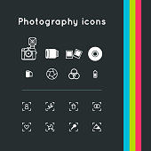 Photography outline simple icons set. Vector symbol illustrations.