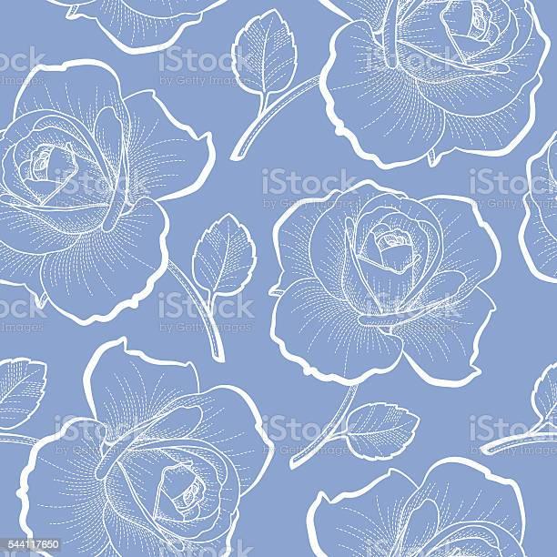 White outline roses on blue seamless pattern vector id544117650?b=1&k=6&m=544117650&s=612x612&h=o1zt7qwtcqcxclmkgiobhqhmq2h1tdimpbn aeq7pzi=