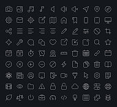 White outline vector icons for web and mobile on black