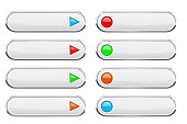 White oval buttons with colored circles and arrows. Menu interface elements. Vector 3d illustration on white background