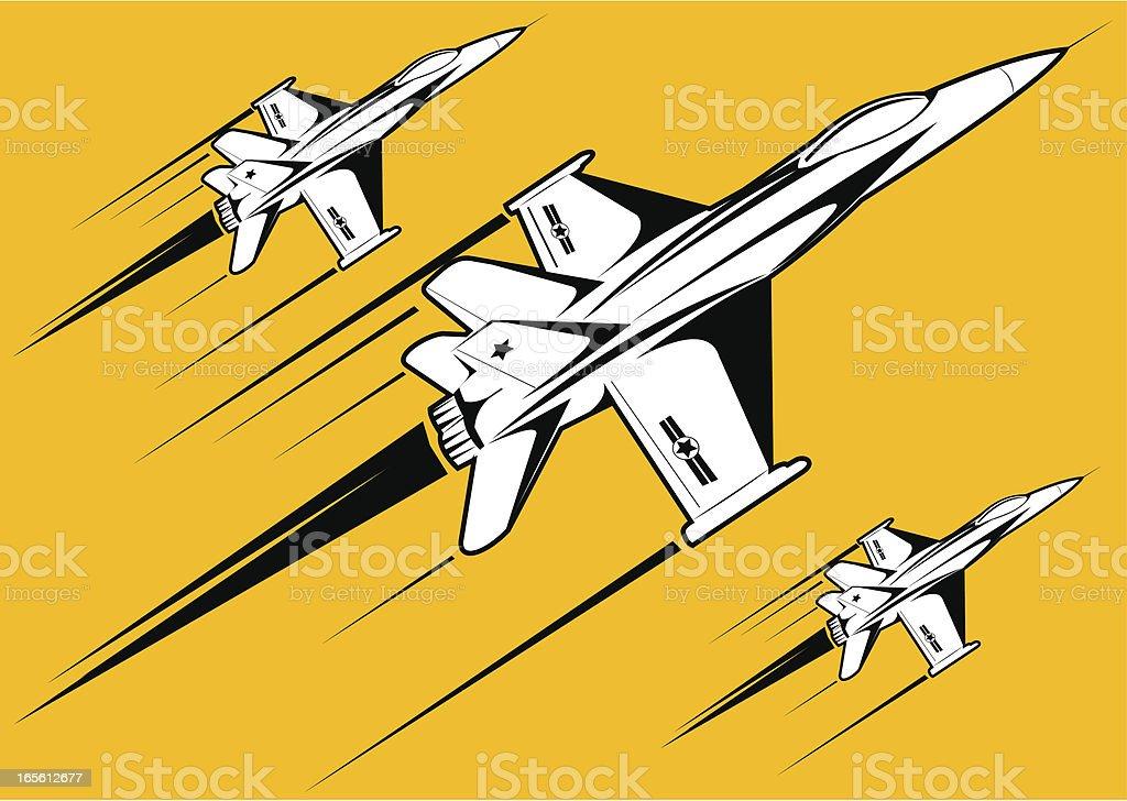 F18 white over yellow background vector art illustration