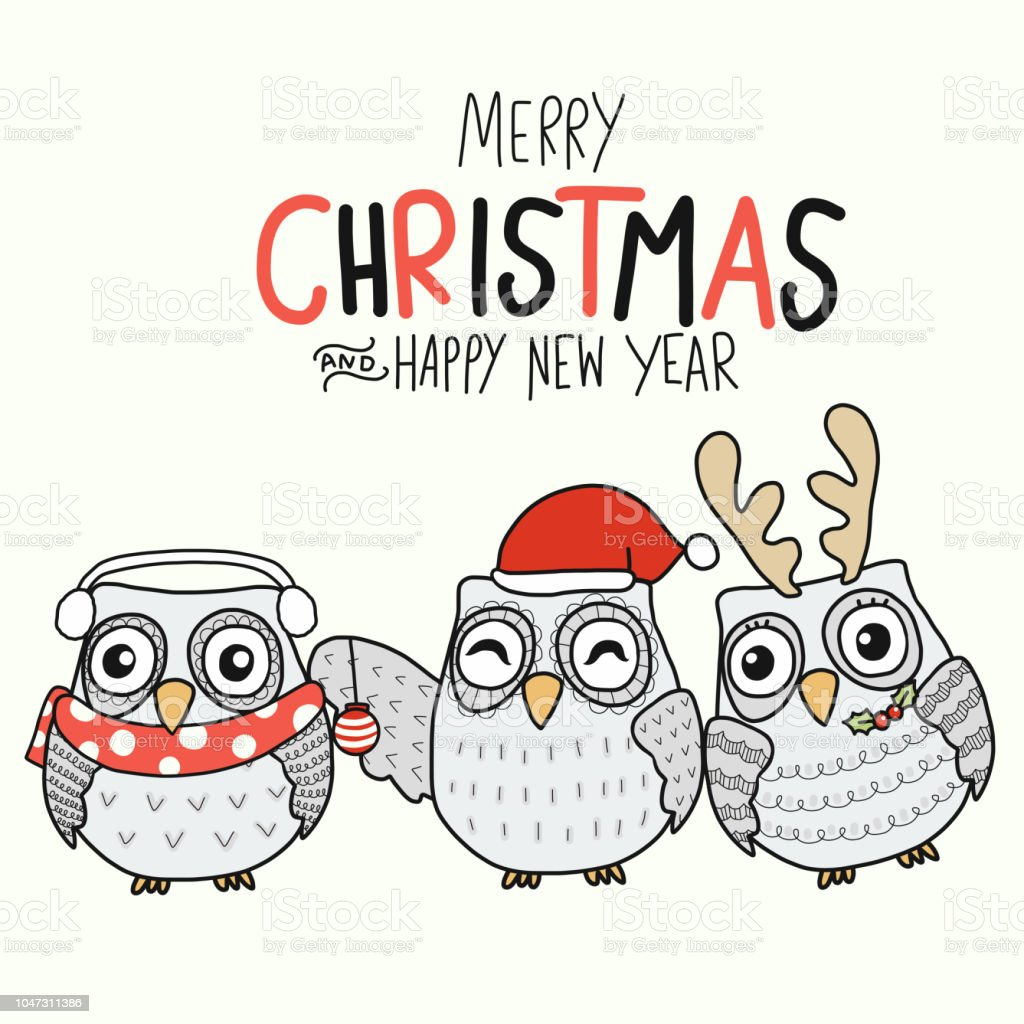 white owl family merry christmas and happy new year cartoon royalty free white owl family