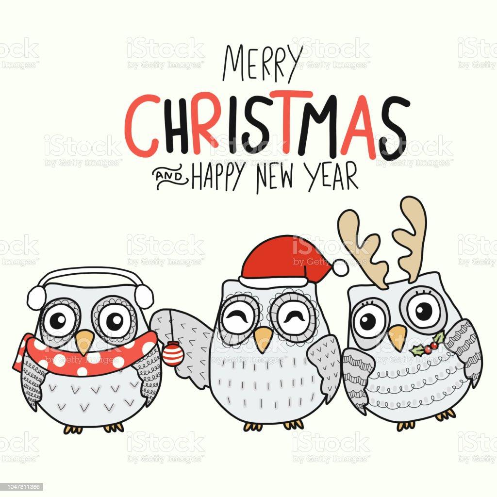 white owl family merry christmas and happy new year cartoon royalty free white owl family