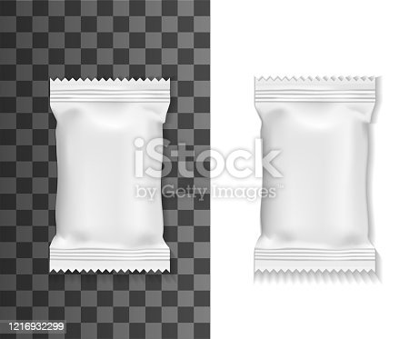 White pack mockup, sachet or pouch bag isolated 3d vector realistic blank package for food, wet towels or cosmetics. Foil, plastic or paper white rectangular packs, packaging object