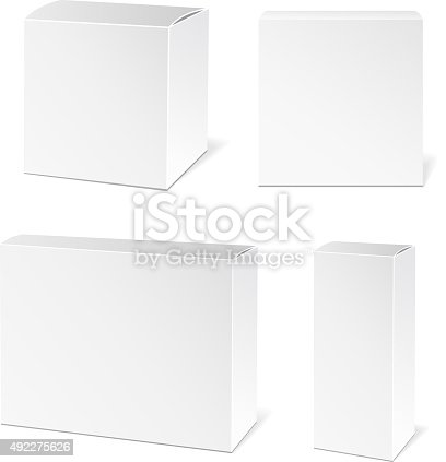 Realistic White Package Box. Packaging Product. Vector illustration.