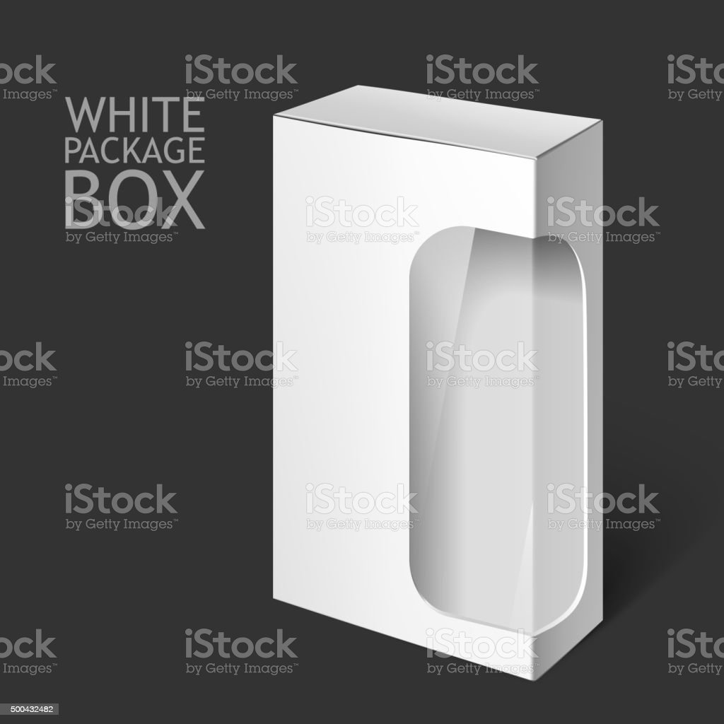 White Package Box with Window. Mockup Template vector art illustration
