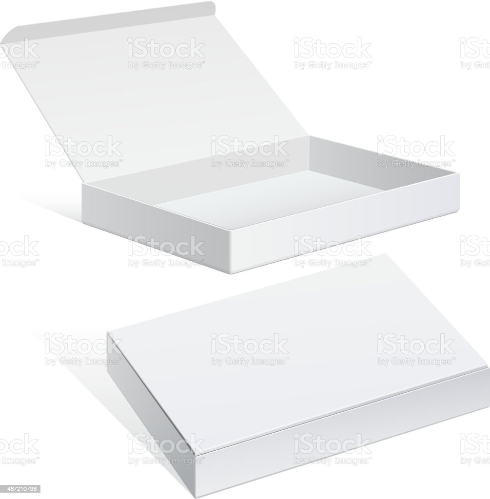 White Package Cardboard Box set vector art illustration