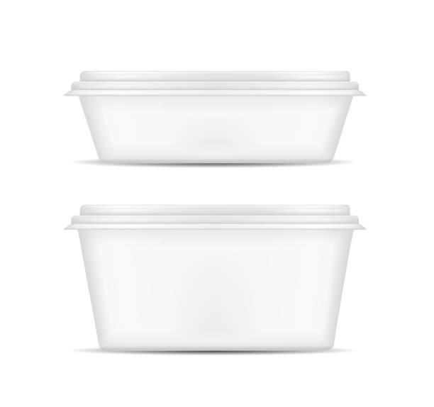 illustrazioni stock, clip art, cartoni animati e icone di tendenza di white packaging with lid for food - gelato confezionato