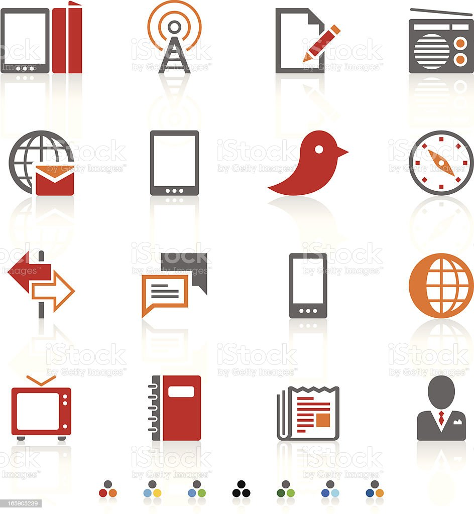 A white page with red, orange, and grey communication icons  royalty-free stock vector art