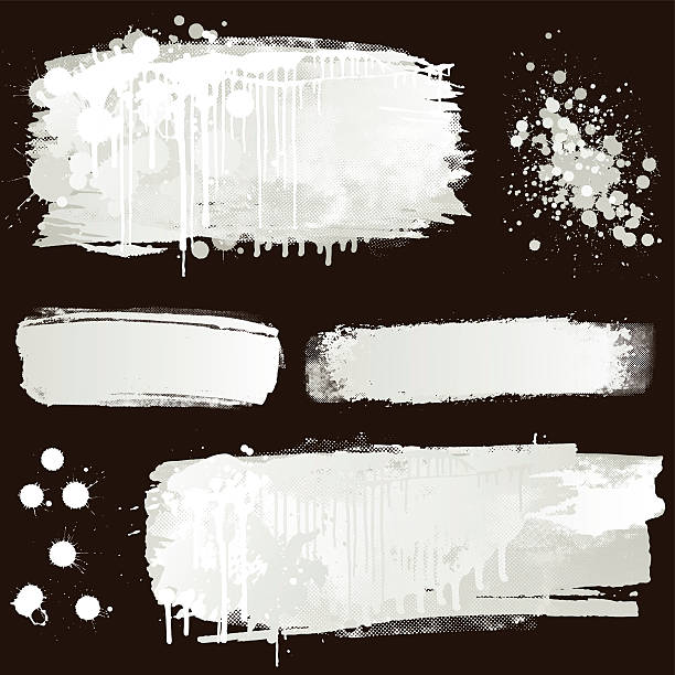 white paint splatter on black background - graffiti backgrounds stock illustrations, clip art, cartoons, & icons