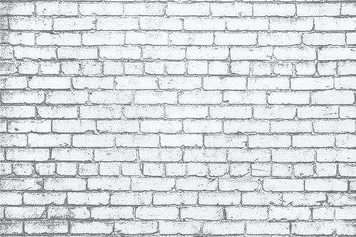 White Painted Brick Wall Grunge Textured Background Illustration