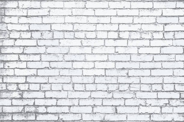 ilustrações de stock, clip art, desenhos animados e ícones de white painted brick wall grunge textured background illustration - white wall