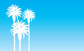 Vector illustration of white palm trees on a blue sky background.
