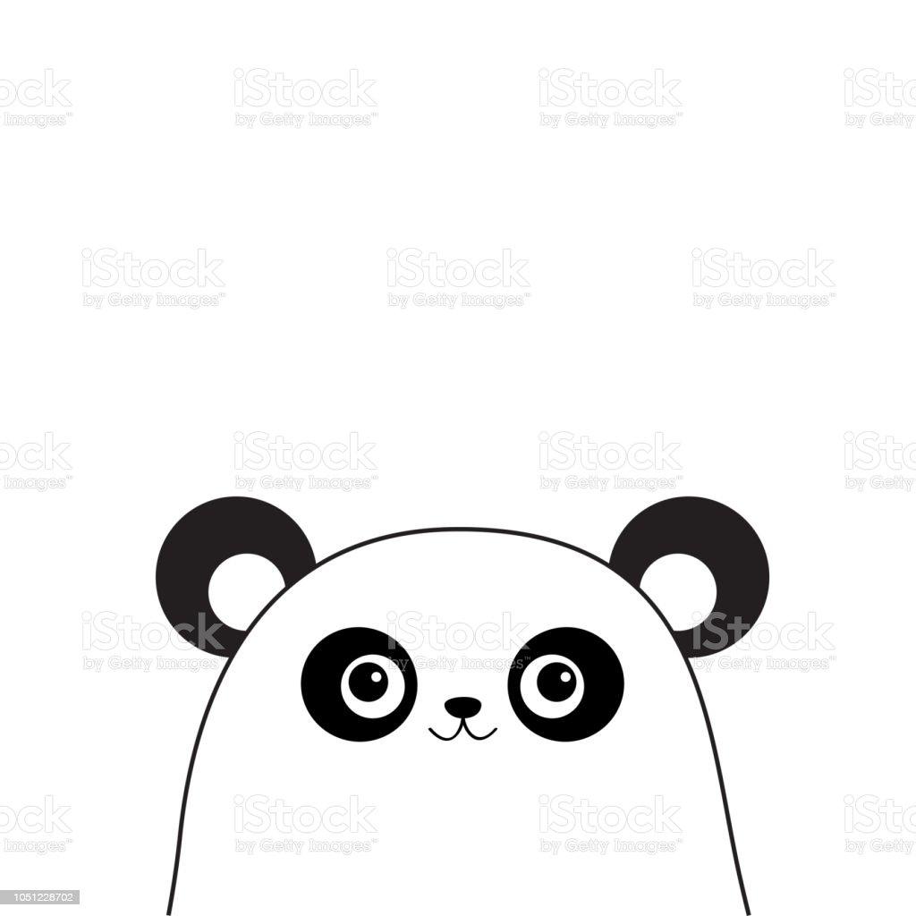 Panda Blanche Visage Silhouette De Contour Noir Kawaii