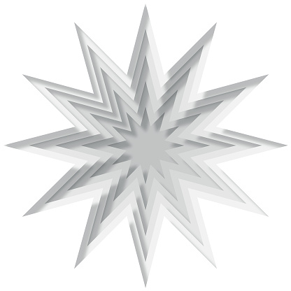 A white paper 3D cut out minimalist star background. Cut out from paper with a drop shadow. Vector stock illustration