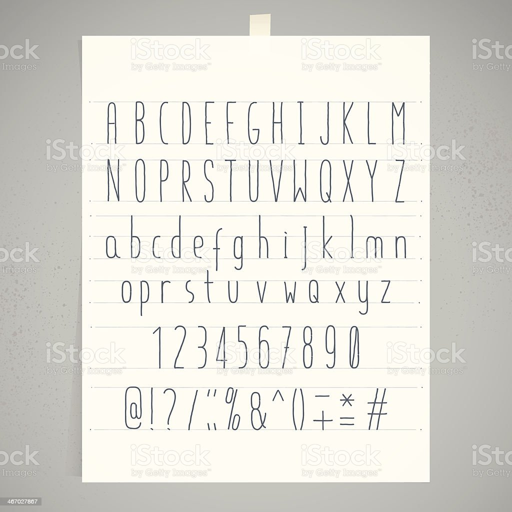 White Paper Adhesive Tape Gray Wall Condensed Handwriting Alphabet royalty-free stock vector art