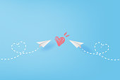 White paper airplanes flying of heart drawing paint concept on blue sky.Creative design paper cut and craft style business success and leadership idea.Minimal pastel background,Vector illustration.